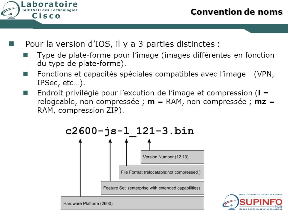 Pour la version d'IOS, il y a 3 parties distinctes :