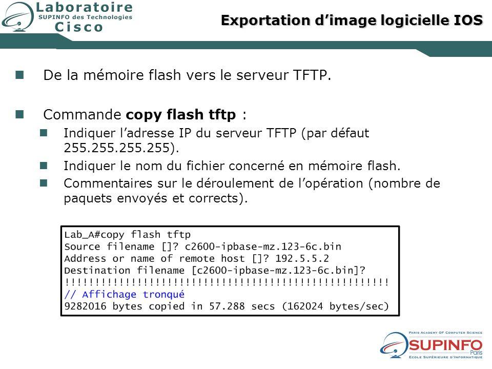 Exportation d'image logicielle IOS