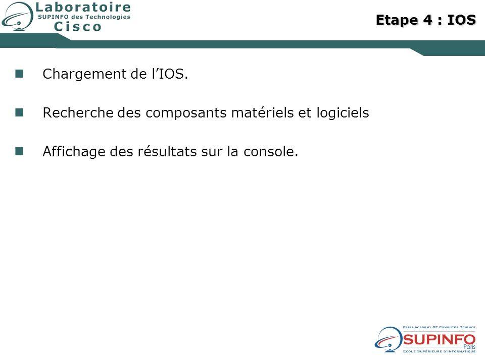 Etape 4 : IOS Chargement de l'IOS. Recherche des composants matériels et logiciels.