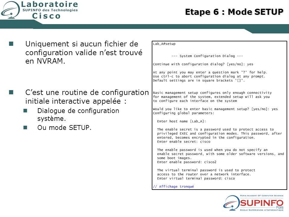 Etape 6 : Mode SETUP Uniquement si aucun fichier de configuration valide n'est trouvé en NVRAM.