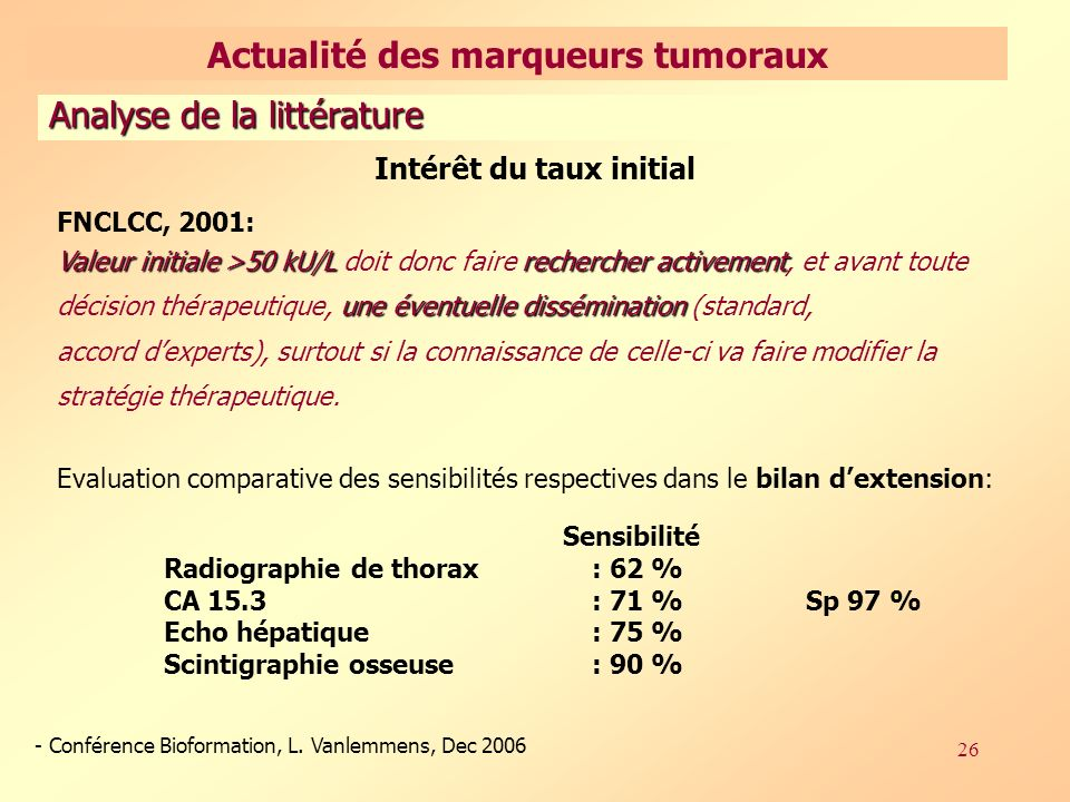 Actualité des marqueurs tumoraux Intérêt du taux initial