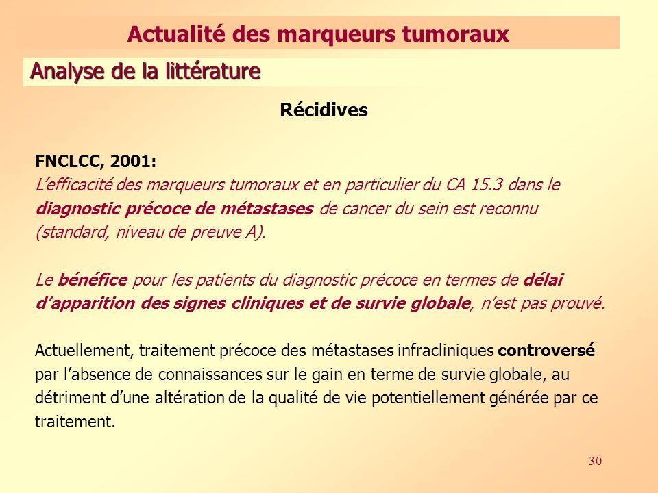 Actualité des marqueurs tumoraux