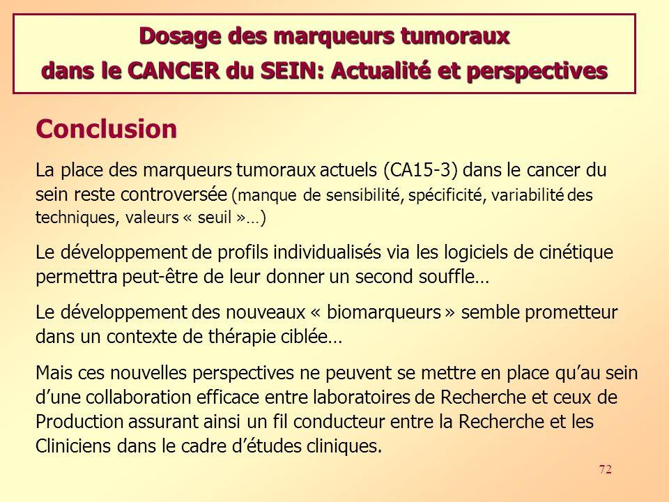 Conclusion Dosage des marqueurs tumoraux