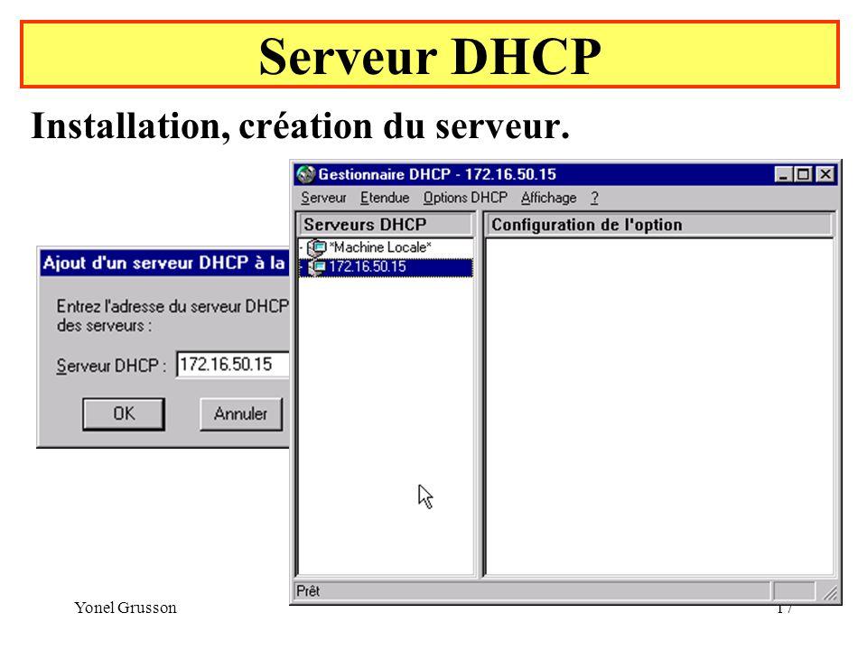 Serveur DHCP Installation, création du serveur. Yonel Grusson