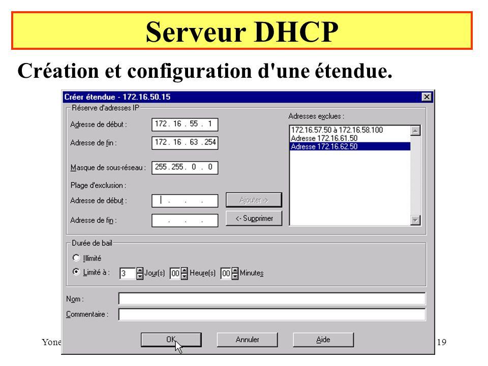 Serveur DHCP Création et configuration d une étendue. Yonel Grusson