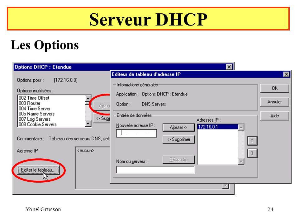 Serveur DHCP Les Options Yonel Grusson
