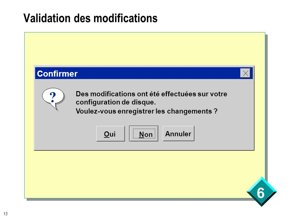Validation des modifications