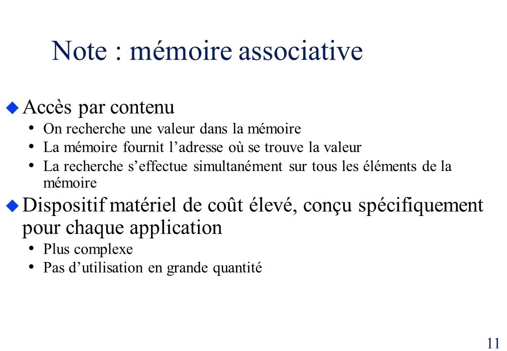 Note : mémoire associative