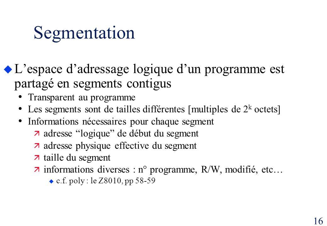 Segmentation L'espace d'adressage logique d'un programme est partagé en segments contigus. Transparent au programme.