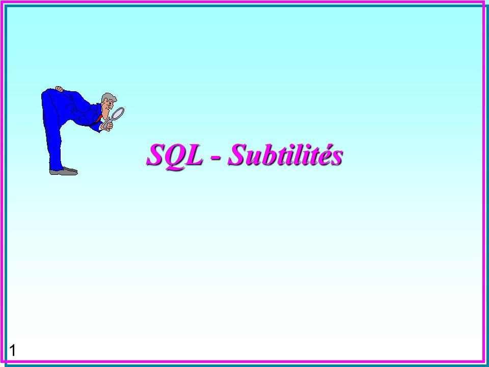 SQL - Subtilités