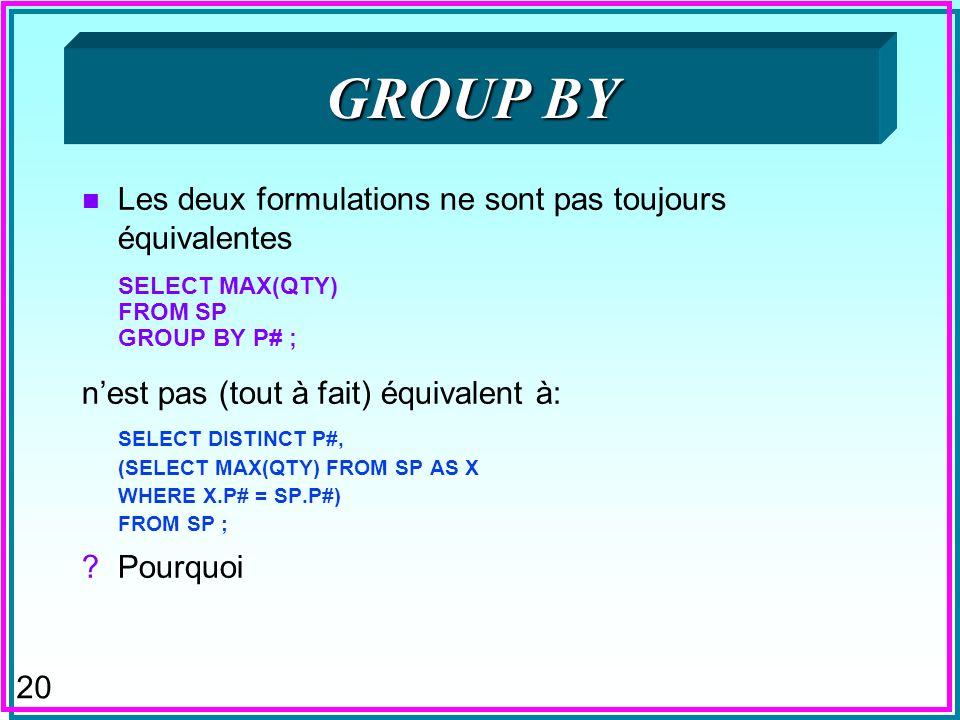 GROUP BY Les deux formulations ne sont pas toujours équivalentes