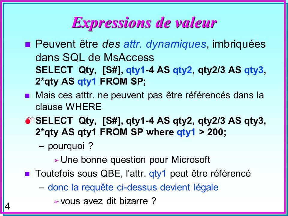 Expressions de valeur