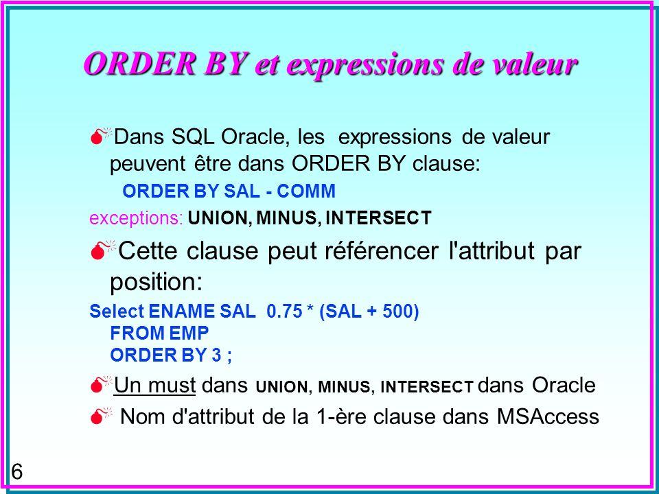 ORDER BY et expressions de valeur