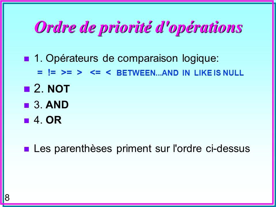 Ordre de priorité d opérations