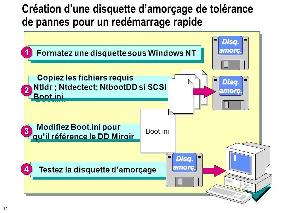 Création d'une disquette d'amorçage de tolérance de pannes pour un redémarrage rapide