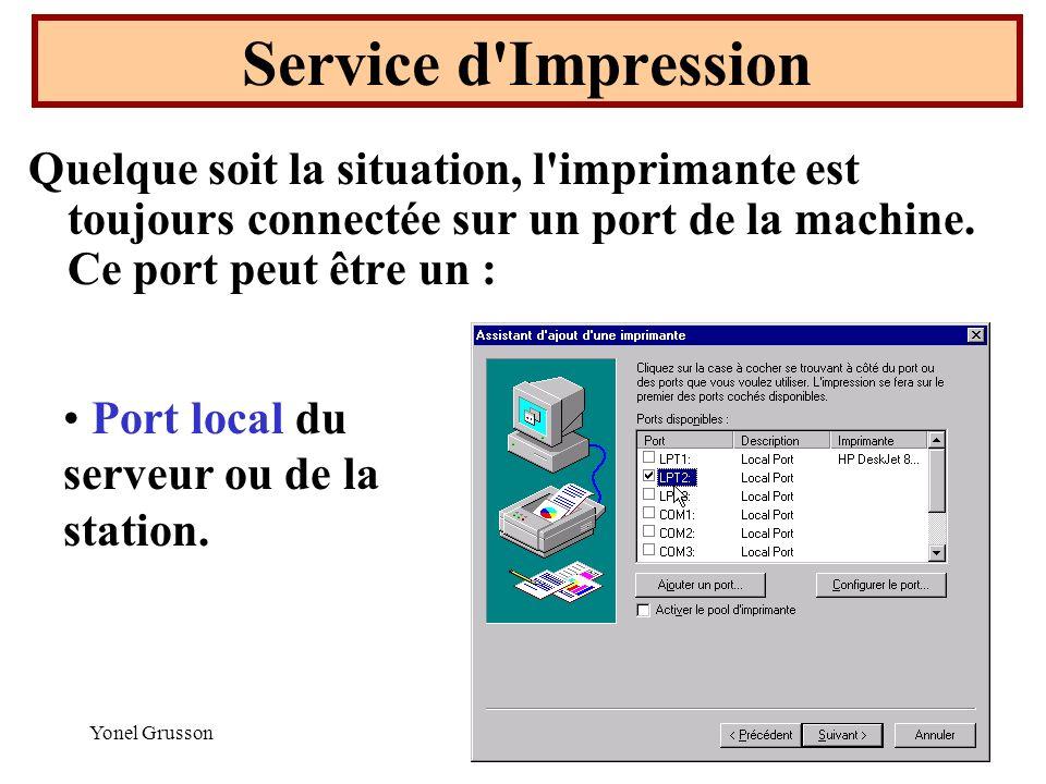 Service d Impression Quelque soit la situation, l imprimante est toujours connectée sur un port de la machine. Ce port peut être un :