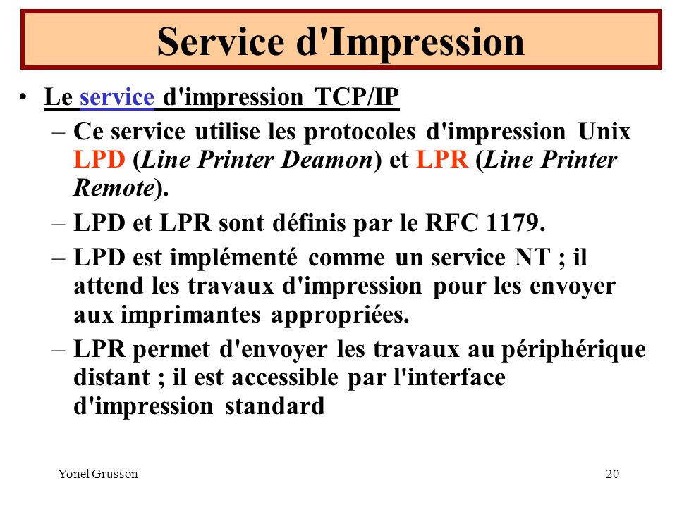 Service d Impression Le service d impression TCP/IP