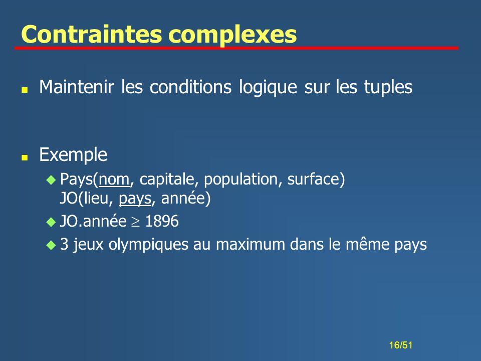 Contraintes complexes