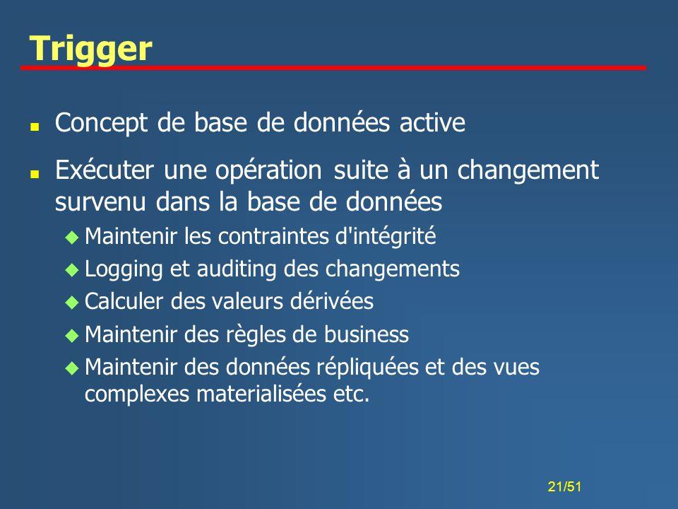 Trigger Concept de base de données active