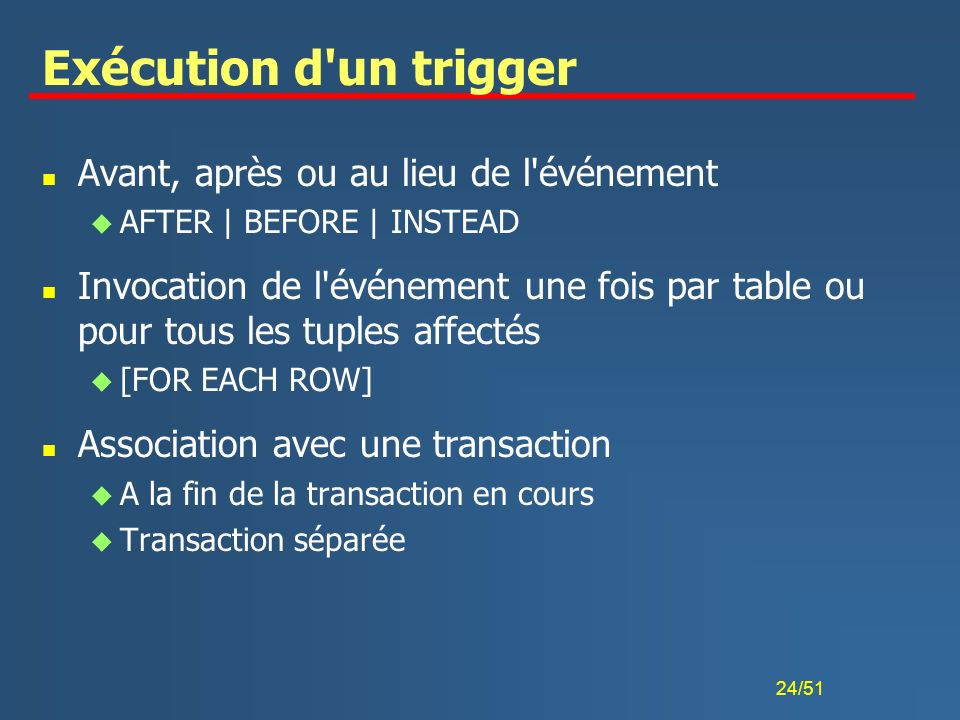 Exécution d un trigger Avant, après ou au lieu de l événement