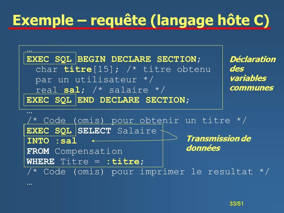 Exemple – requête (langage hôte C)