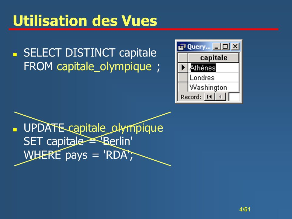 Utilisation des Vues SELECT DISTINCT capitale FROM capitale_olympique ; UPDATE capitale_olympique SET capitale = Berlin WHERE pays = RDA ;