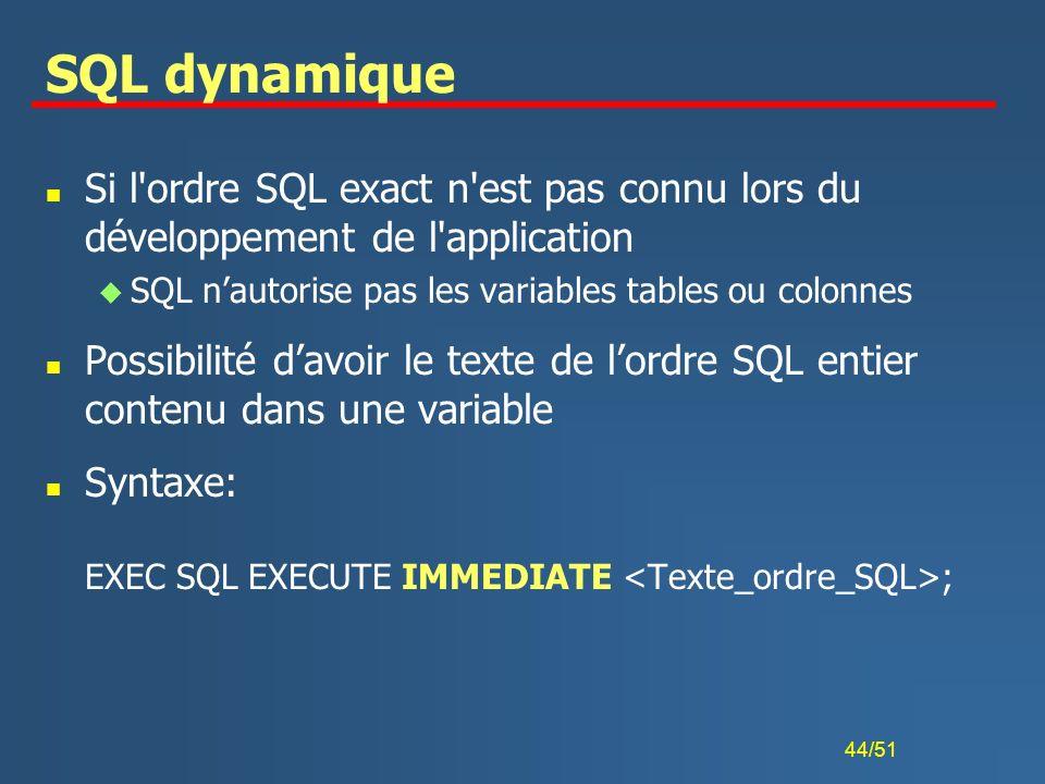 SQL dynamique Si l ordre SQL exact n est pas connu lors du développement de l application. SQL n'autorise pas les variables tables ou colonnes.