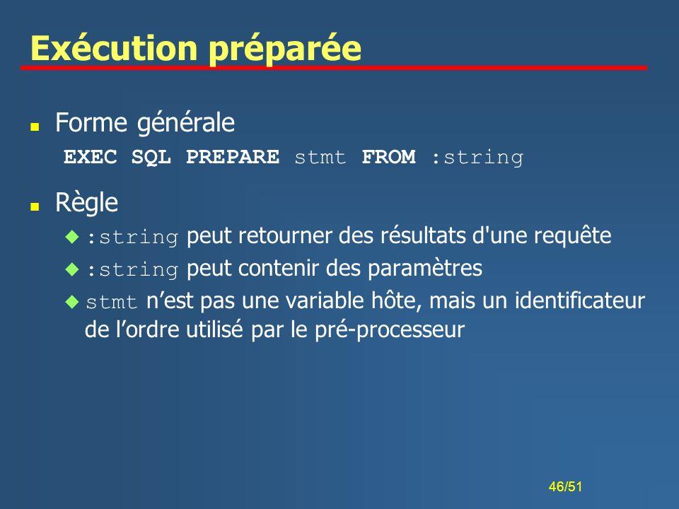Exécution préparée Forme générale Règle