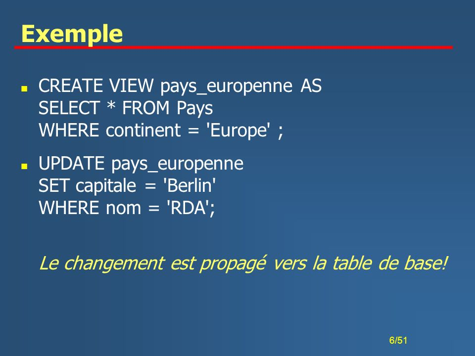 Exemple CREATE VIEW pays_europenne AS SELECT * FROM Pays WHERE continent = Europe ;