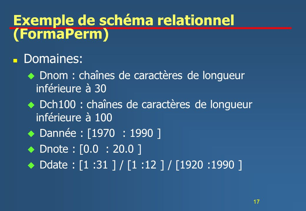 Exemple de schéma relationnel (FormaPerm)