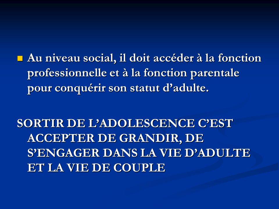 Au niveau social, il doit accéder à la fonction professionnelle et à la fonction parentale pour conquérir son statut d'adulte.