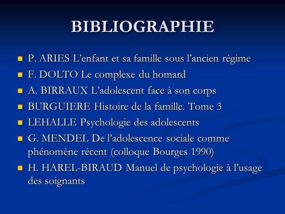 BIBLIOGRAPHIE P. ARIES L'enfant et sa famille sous l'ancien régime