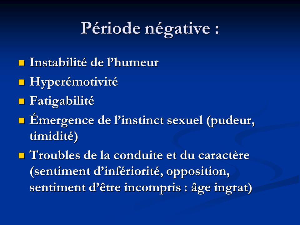 Période négative : Instabilité de l'humeur Hyperémotivité Fatigabilité