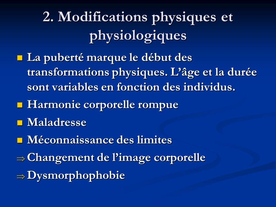 2. Modifications physiques et physiologiques