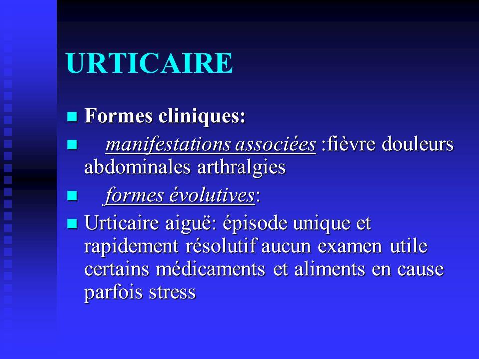 URTICAIRE Formes cliniques: