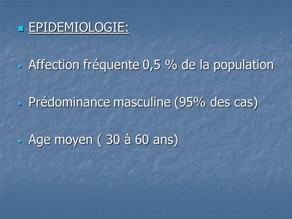 EPIDEMIOLOGIE: Affection fréquente 0,5 % de la population.