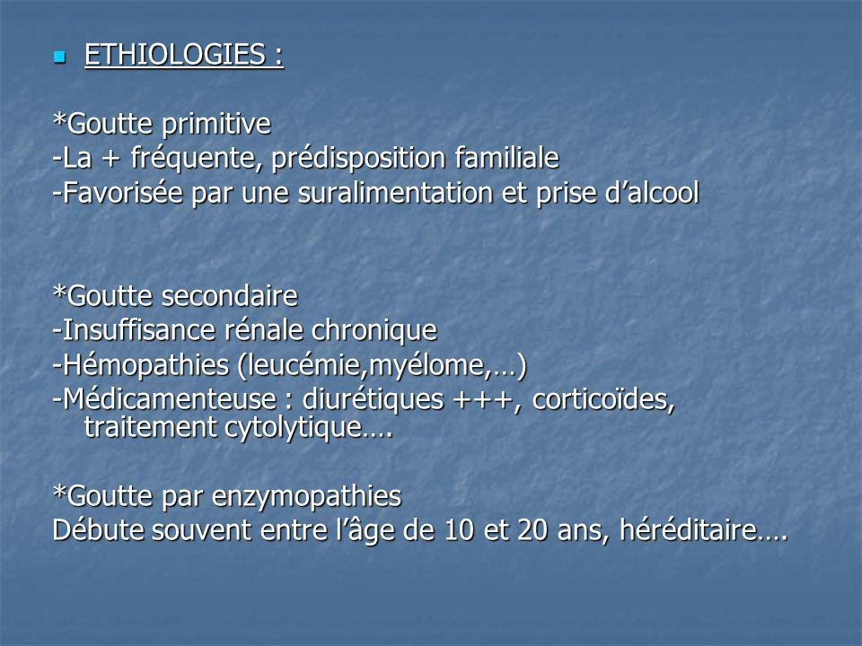 ETHIOLOGIES : *Goutte primitive. -La + fréquente, prédisposition familiale. -Favorisée par une suralimentation et prise d'alcool.