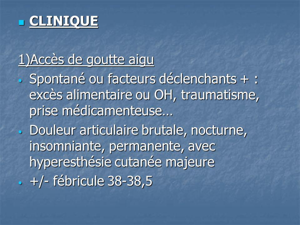 CLINIQUE 1)Accès de goutte aigu. Spontané ou facteurs déclenchants + : excès alimentaire ou OH, traumatisme, prise médicamenteuse…