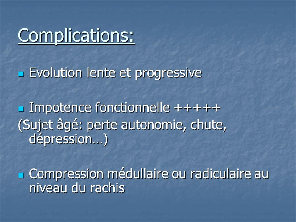 Complications: Evolution lente et progressive