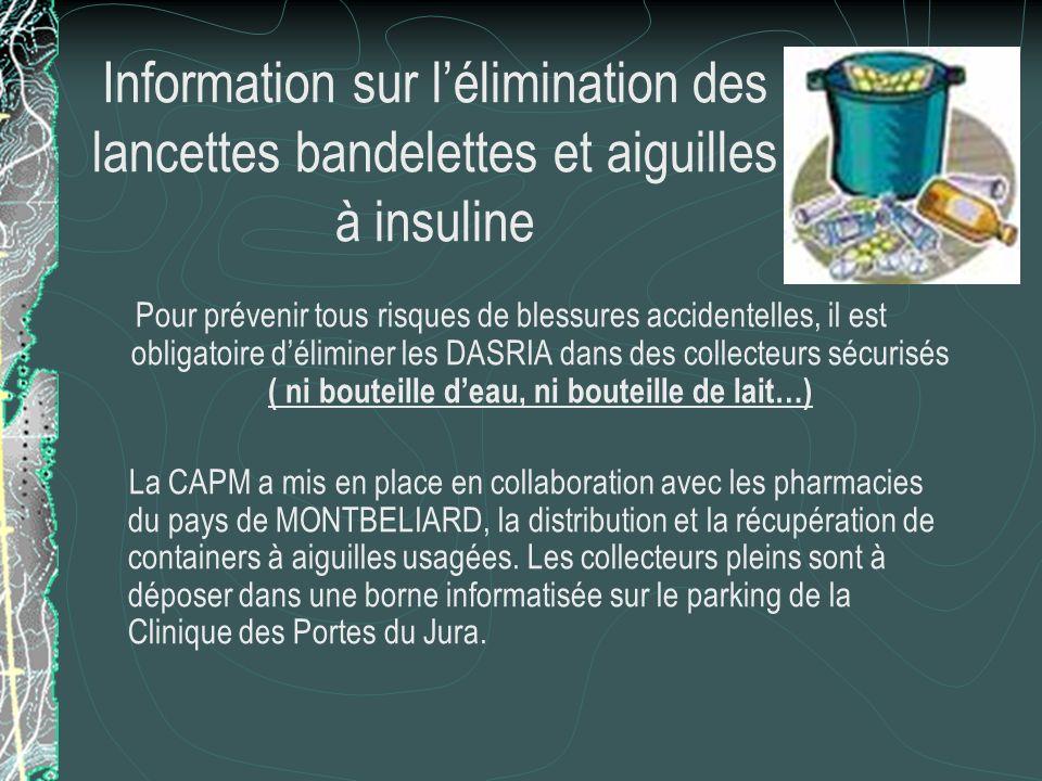 Information sur l'élimination des lancettes bandelettes et aiguilles à insuline