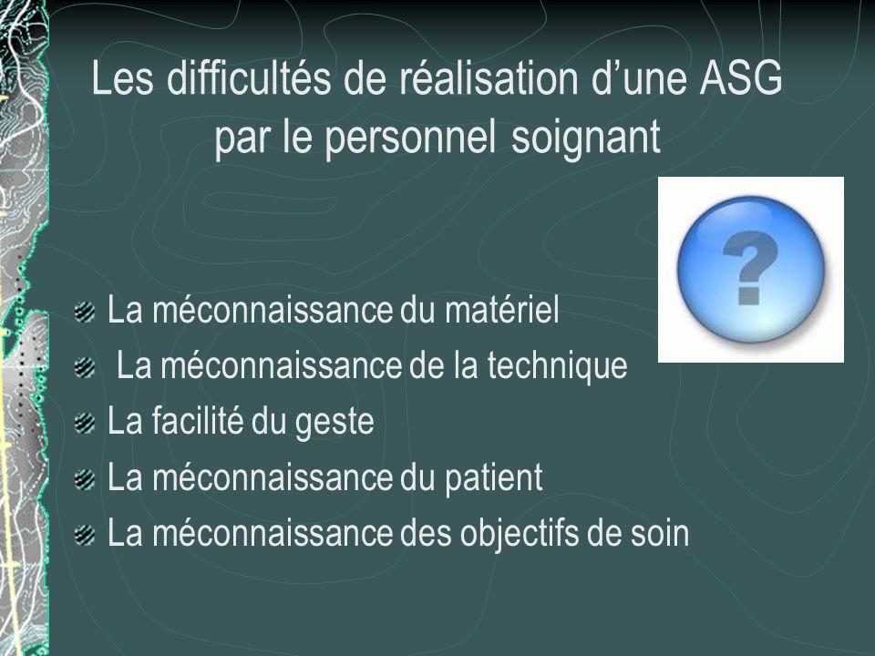 Les difficultés de réalisation d'une ASG par le personnel soignant