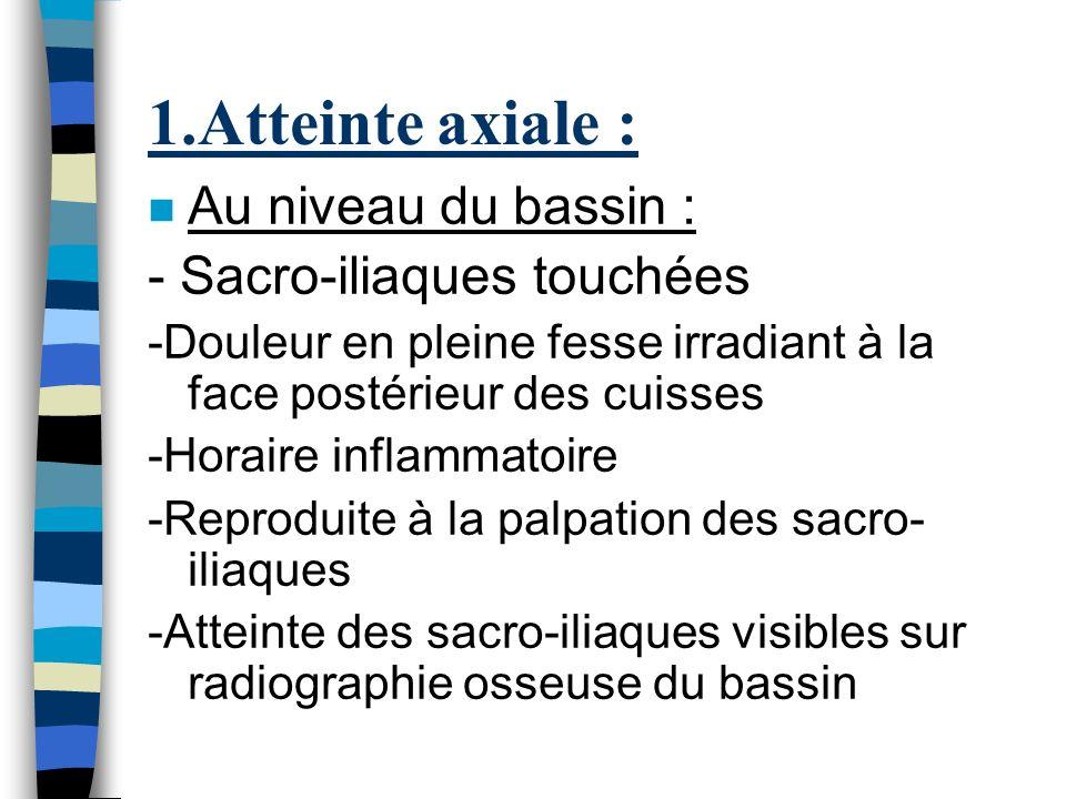 1.Atteinte axiale : Au niveau du bassin : - Sacro-iliaques touchées