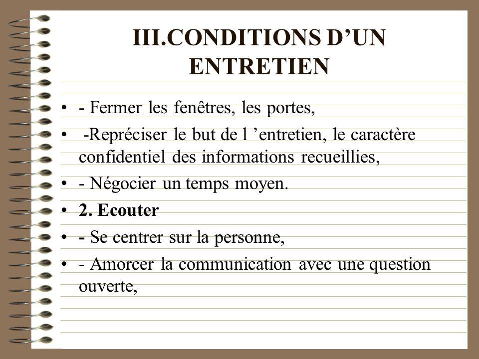 III.CONDITIONS D'UN ENTRETIEN