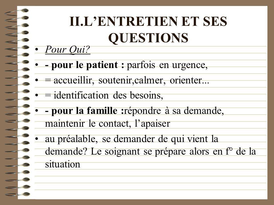 II.L'ENTRETIEN ET SES QUESTIONS
