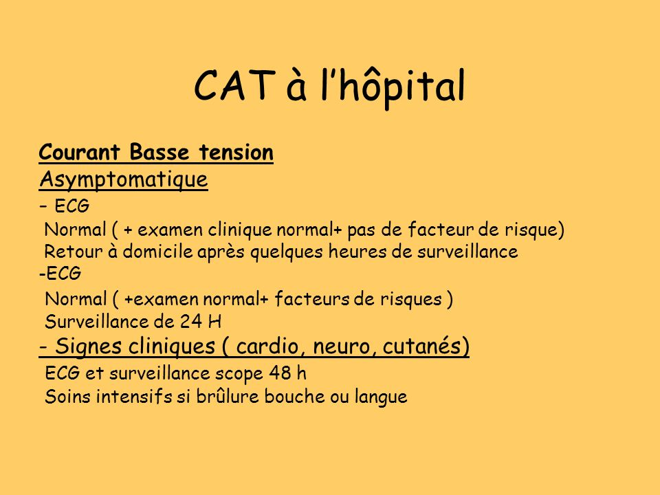 CAT à l'hôpital Courant Basse tension Asymptomatique - ECG