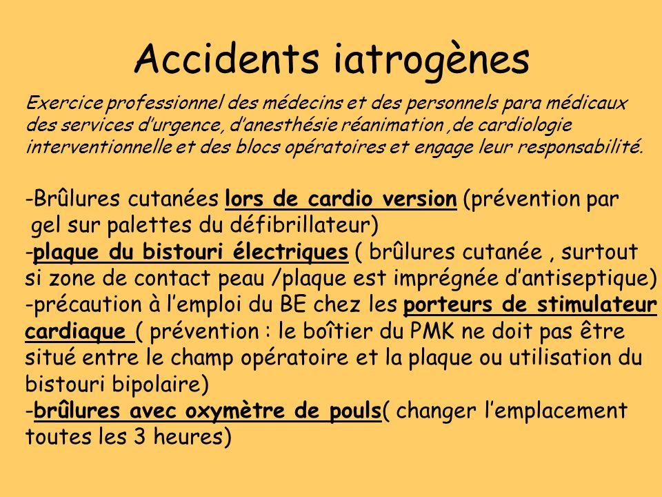 Accidents iatrogènes Exercice professionnel des médecins et des personnels para médicaux.