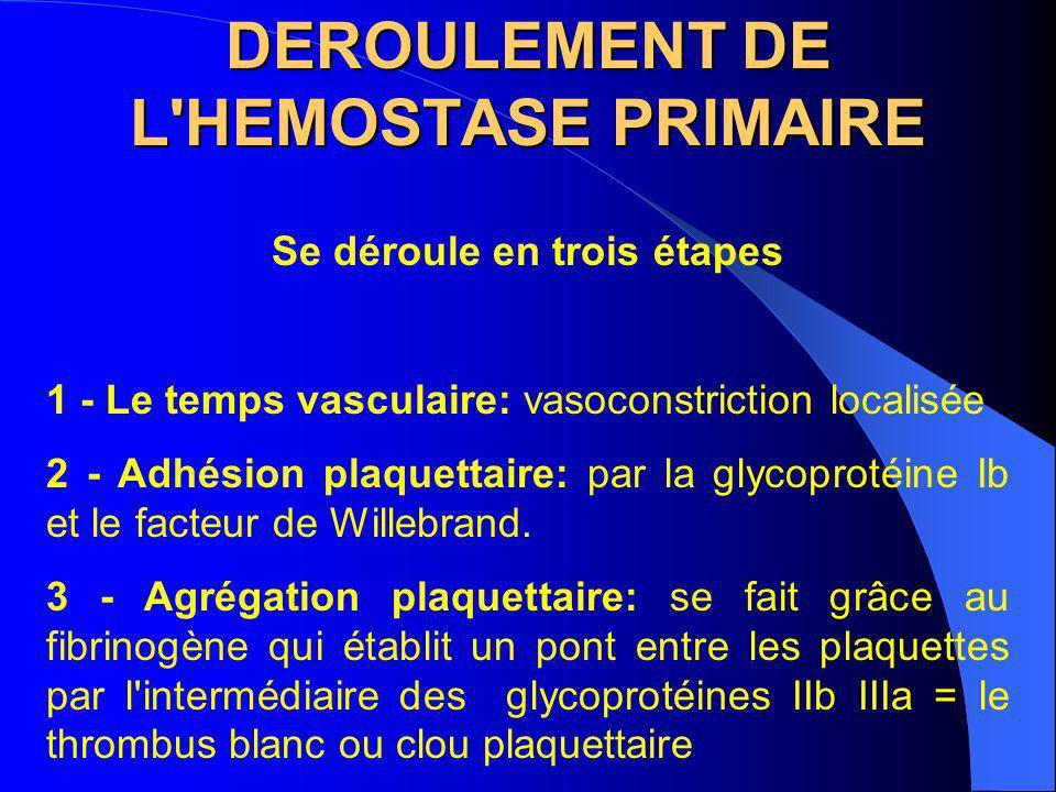 DEROULEMENT DE L HEMOSTASE PRIMAIRE