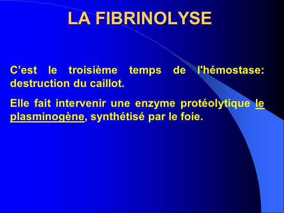 LA FIBRINOLYSE C'est le troisième temps de l hémostase: destruction du caillot.