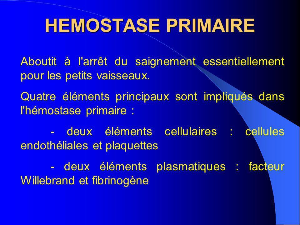 HEMOSTASE PRIMAIRE Aboutit à l arrêt du saignement essentiellement pour les petits vaisseaux.