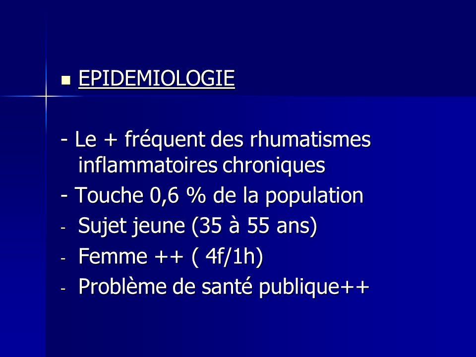 EPIDEMIOLOGIE - Le + fréquent des rhumatismes inflammatoires chroniques. - Touche 0,6 % de la population.